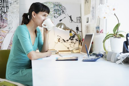 Self-employed worker at desk
