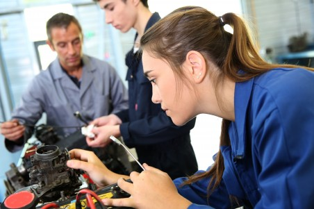 Female mechanic apprentice